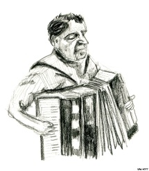 A sad accordion man I saw in Istanbul. First time with charcoal in a long time, think if like to use more of it. I like how expressive all of the lines come out.
