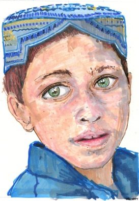 Grid image of an Afghan boy.