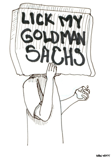 Drawn from a scene at Zuccotti Park on 10/8/2011