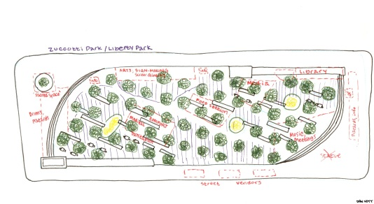 A map of Zuccotti Park/Liberty Square as it was when I visited on Oct 8th 2011. Except for a few pathways, every foot of the small park was layered with people camped out with sleeping bags and gear.