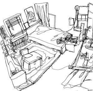 Contour line drawing of my room.