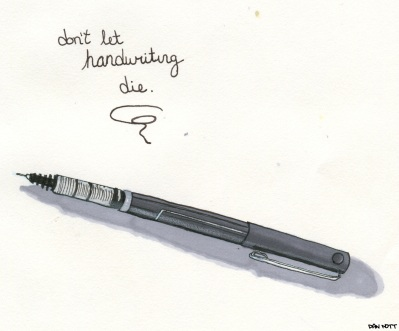 Inspired by the endangered nature of handwriting.