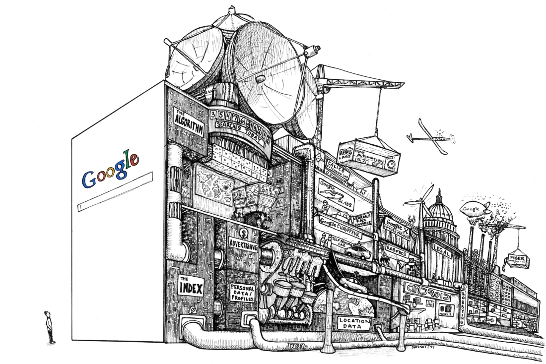 A Cross Section of Google's Search Engine Drawing